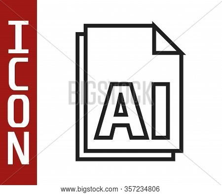 Black Line Ai File Document. Download Ai Button Icon Isolated On White Background. Ai File Symbol. V