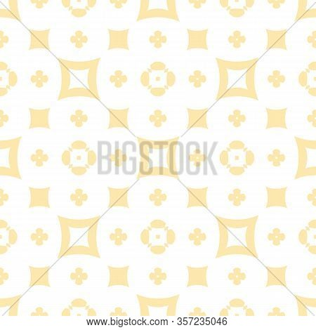 Subtle Floral Seamless Texture. Vintage Geometric Pattern With Small Flower Silhouettes, Squares. Ve