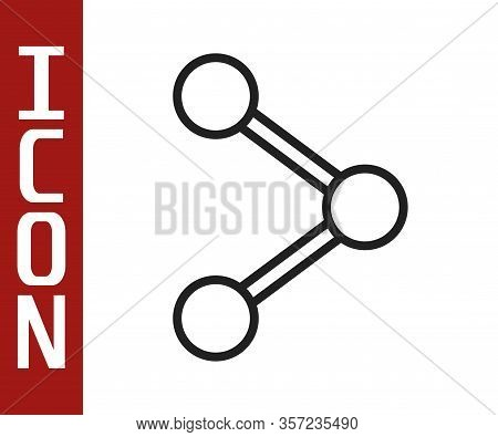 Black Line Share Icon Isolated On White Background. Share, Sharing, Communication Pictogram, Social