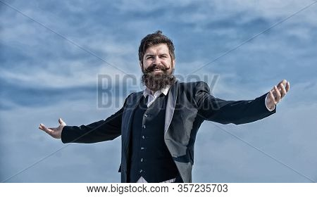 Happy Bearded Man. Mature Happy Hipster With Beard. Future Success. Male Formal Fashion. Happy Bruta