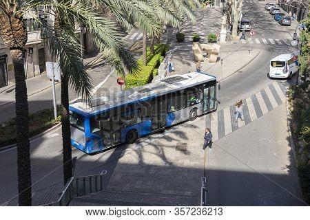 Palma De Mallorca, Spain - March 8, 2020: Public Urban Bus Circulating On The Street Of La Rambla