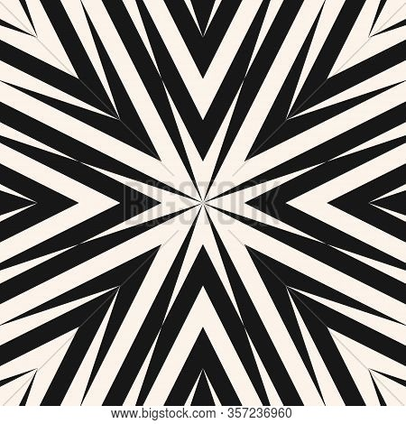 Vector Abstract Geometric Pattern. Simple Texture With Concentric Lines, Arrows, Burst. Black And Wh