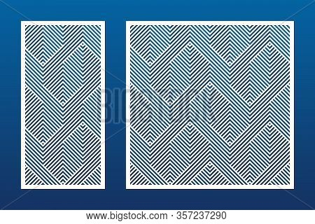 Laser Cutting Decorative Panel Set. Vector Template With Abstract Geometric Pattern, Lines, Stripes,