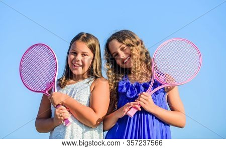 Taking A Break. Happy And Cheerful. Sport Playing. Summer Outdoor Games. Play Tennis. Childhood Happ