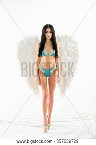 Desirable And Tempting Lady. Purity And Innocence. Delicate Sensual Woman Posing With Angel Wings. F