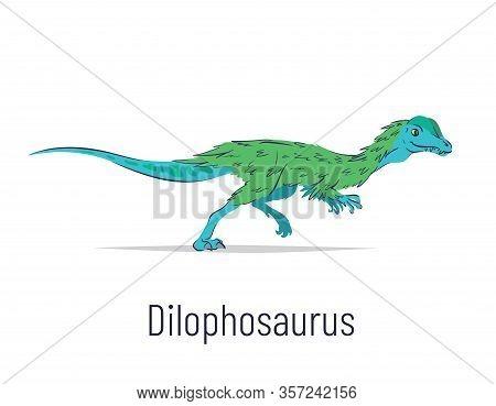 Dilophosaurus. Theropoda Dinosaur. Colorful Vector Illustration Of Prehistoric Creature Dilophosauru