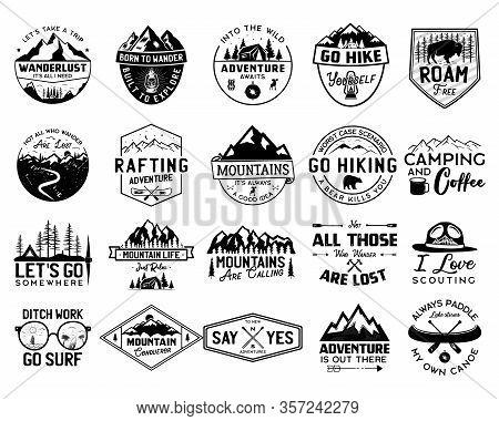 Vintage Camp Logo Bundle, Mountain Badges Set. Hand Drawn Labels Designs. Travel Expedition, Canoe,