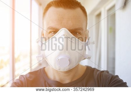 Man In Medical Mask In Hospital. Quarantined Man With Coronovirus