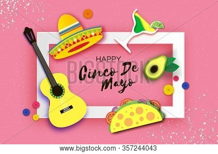 Happy Cinco De Mayo Banner In Paper Cut Style. Origami Fan, Tacos. Coctail. Mexico, Carnival Square