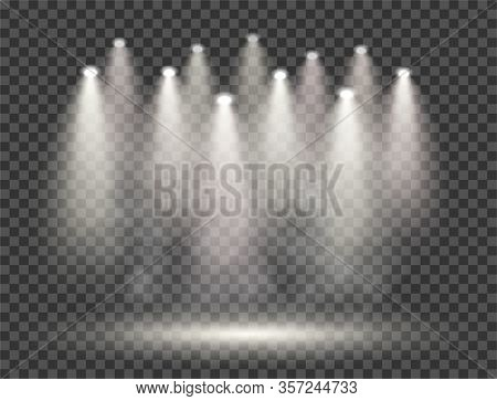 Spotlights With Smoke And Scene. Transparent Isolated Vector For Your Design. Eps.