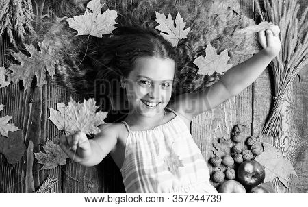 Autumn Coziness Is Just Around. Tips For Turning Fall Into Best Season. Kid Girl Smiling Face Lay Wo