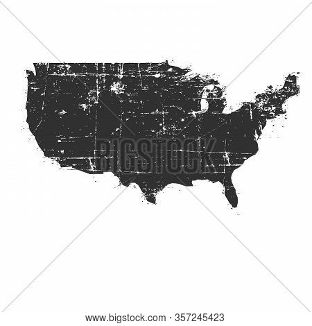 Black Grunge Usa Map. Stock Vector Illustration Isolated On White Background.