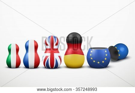 Main Members Of The European Union In The Form Of Nesting Dolls With Flag Colors. Vector Illustratio