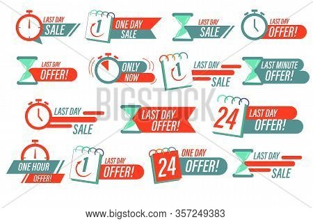 Sale Countdown Badges. One Day Sales And 24 Hour Sale Promo Stickers. Sale Timer Badges. Last Minute