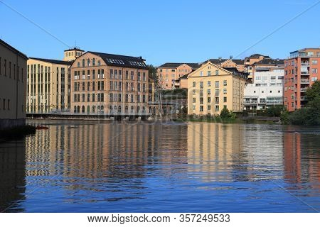 Norrkoping Town In Sweden. Former Industrial Landscape - Revitalized Architecture.