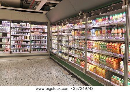 Jonkoping, Sweden - August 25, 2018: Supermarket Fridge Section In Sweden. Monthly Consumer Spending