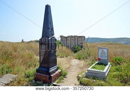 Sevastopol, Crimea - July, 2019: Obelisk On The Grave Of The Flight Engineer M.t. Medvedev (who Died