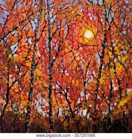 Original Oil Painting On Canvas Art. Sunny Autumn Forest Trees. Modern Impressionism. Autumn Gold Ye