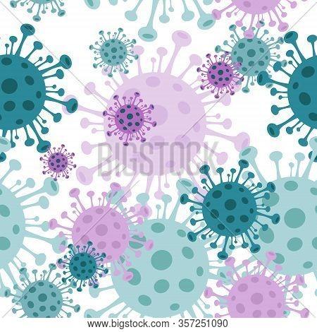 Coronavirus. Different Kinds Of Viruses. Bacteria Biology Organisms Seamless Pattern. Flat Vector Il