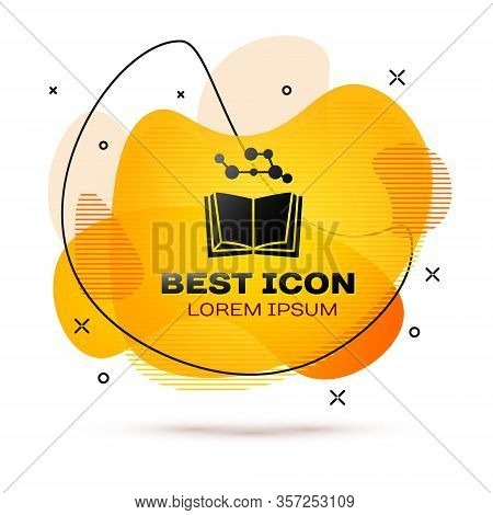 Black Open Book Icon Isolated On White Background. Abstract Banner With Liquid Shapes. Vector Illust