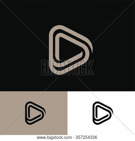 Player, Audio Player Icon. Audio And Video Emblem. Triangle Mobius Logo. Rounded Triangle Consist Of