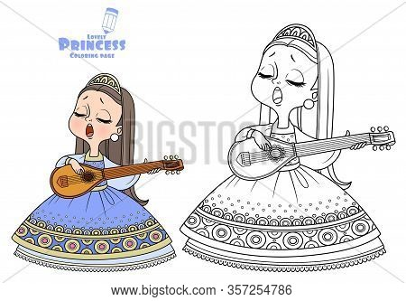 Cute Princess Sings And Plays The Lute Outlined And Color For Coloring Book
