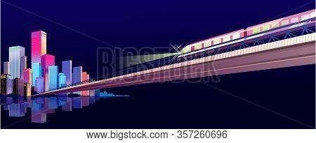 Neon Lighting City Street Buildings, Night Landscape, Horizontal Banner On A Dark Night Background,