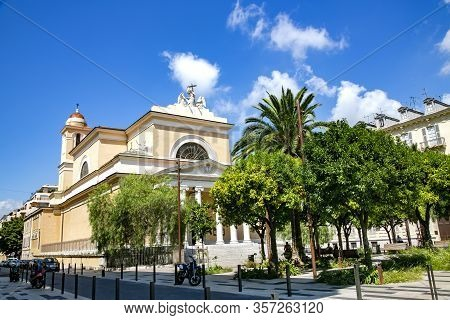 France, Nice, August, 2013 - Facade Church Of Saint Mary Or Dom Sainte Marie Surrounded By A Garden