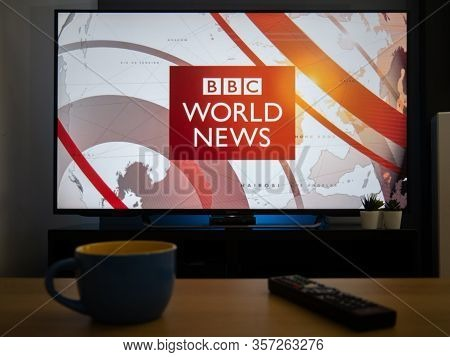 Uk, March 2020: Tv Television Bbc World News Opener