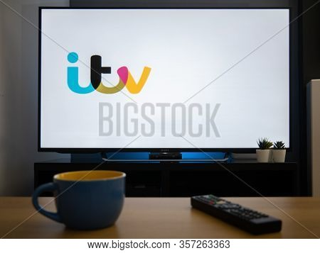 Uk, March 2020: Tv Television Itv Logo Catch Up Service Online