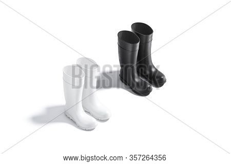 Blank Black And White Rubber Wellington Boots Mockup Set, Side View, 3d Rendering. Empty Autumn Sili