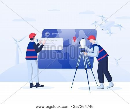 Geodesy Concept Illustration. Surveyors At Work: Uploading  Data From Drone, Making Measurements Usi