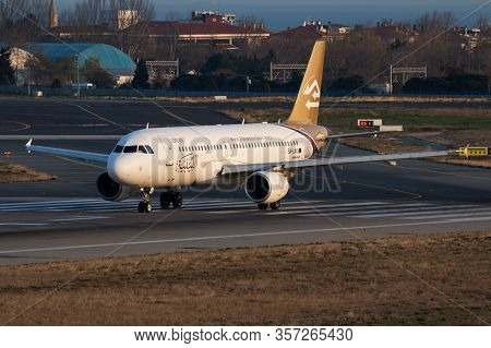 Istanbul / Turkey - March 27, 2019: Lybian Airlines Airbus A320 5a-lak Passenger Plane Departure At