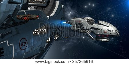 3d Illustration Of A Military Space Station With An Extravehicular Activity For Futuristic Interstel