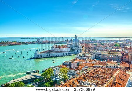 Aerial View Of Venice City Historical City Centre, Santa Maria Della Salute Catholic Church On Punta