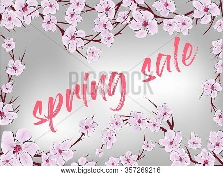 Spring Sale, Great Design For Any Purposes. Pink Sakura. Sakura Vector Flower. Spring Sale Banner. C