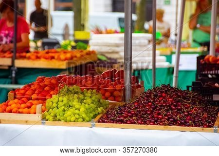 Diferent Fruits And Vegetables On A Public Market Place
