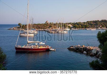 Kastos Island, Greece-august, 2019: Port Of Kastos Island With Moored Yachts, Sailboats, Boats - Ion