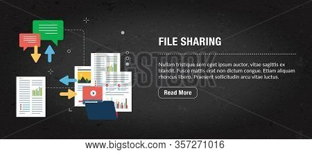 File Sharing Concept Banner Internet With Icons In Vector. Web Banner Template For Website, Banner I