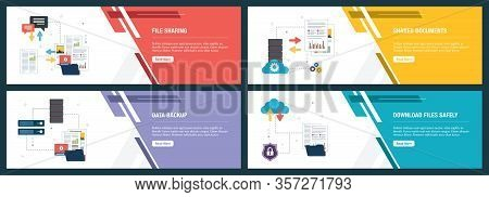Banner Set With Icons For Internet On Websites Or App Templates With File Sharing, Shared Documents,