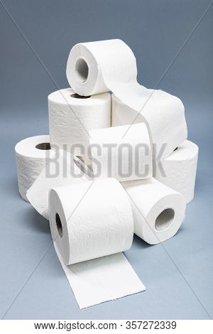 Pile of White Toilet Paper. Concept of lack of toilet paper in stores due to coronavirus, Covid-19