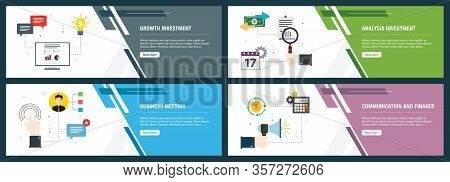 Banner Set With Icons For Internet On Websites Or App Templates With Growth Investment, Analysis Inv