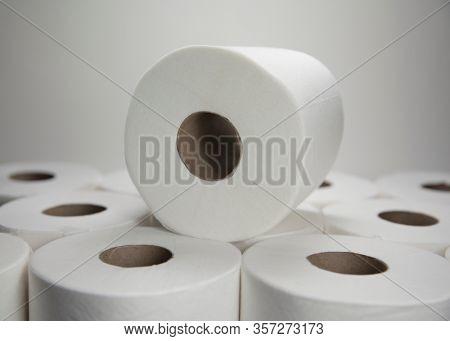 Toilet paper / tissue hoarding concept amid the Coronavirus / Covid-19 pandemic scare - binge and bulk buying