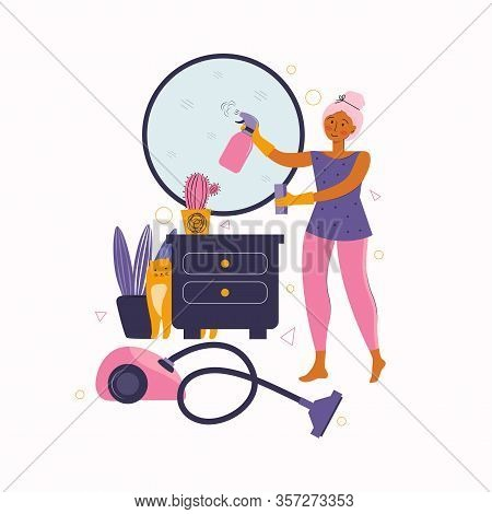 Young Woman Doing Housework. Girl Wipes The Dust, Washes The Mirror And Tidies The Room. Funny Cat H