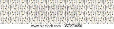 Hand Drawn Whimsical Scribble Lines Seamless Pattern. Vector Painterly Ribbon Trim Banner. Doodle Ma