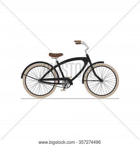 Male Cruiser Bike Flat Isolated Icon On White Background.