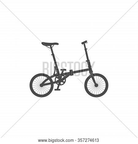 Foldable Compact Bike. Simple Isolated Icon On A White Background.