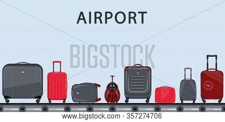 Airport Conveyor Belt With Passenger Luggage. Suitcase Set. Airport Baggage Belt, Luggage For Travel