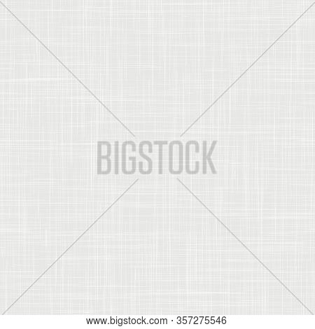 White Woven Linen Fabric Texture Background. Seamless Repeat Vector Pattern Swatch. Light French Gra