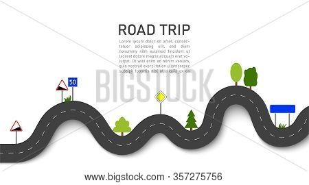 Road Trip. 3d Navigation And Location On Trip With Signs And Trees. Winding Way Map. Journey For Car